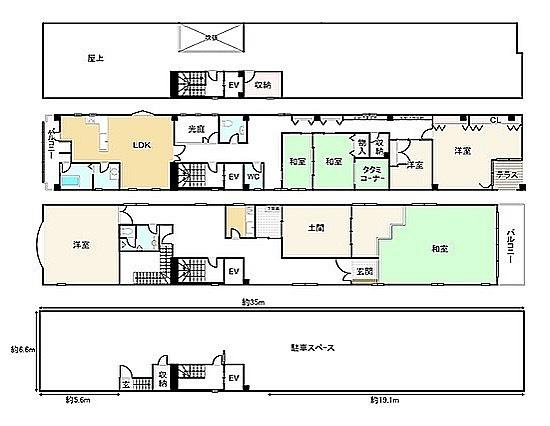 玄関。玄関…玄関?#よく分からん#玄関#スルー#し放題#和室と#畳コーナー#違いは#ビルになっても#京都は#京都#うなぎの寝床#二階の#土間#珍しい#気がする#間取り図