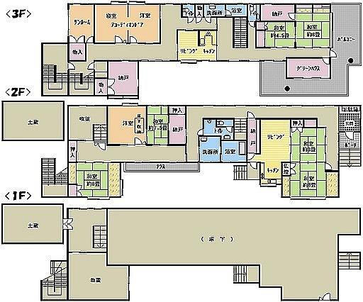 正倉院かよ〜!一階は全部床下の高床式?ハウス〜とりあえず床下には入れるらしい。どうやって使う?っていうか使える?#高床式住居#湿気#怖い#ってこと#なのか#理由#知りたい#部屋配置#不思議な#間取り図