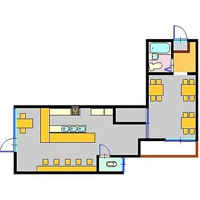 お客さん〜お風呂入ってく?んなわけないか(笑)右側の部屋は元々居住スペースだったけど、繁盛したから客席に変更したのかな?#ランチタイム#は#間取り図#妄想#推測#タイム
