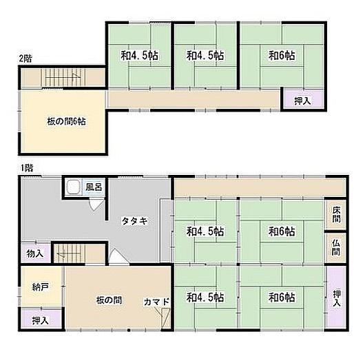 田の字型間取りとかまどのある家。というタイトルの売り物件。確かにかまどはあるけど…#あれが#ない#ですよね#120万#安いですけど#あれは#無いと#ねぇ#間取り図