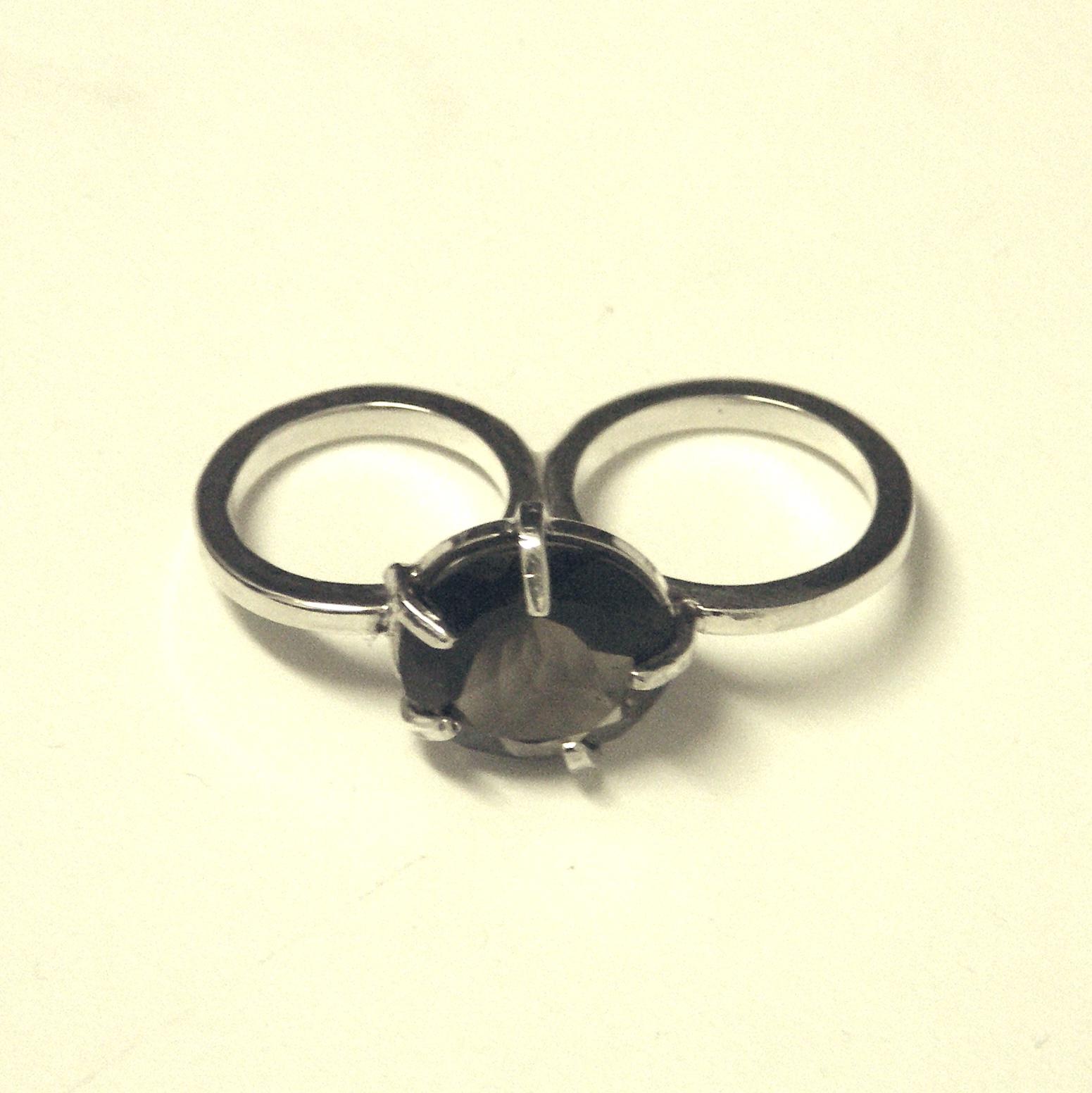 WQR-Wedged smokey quartz ring