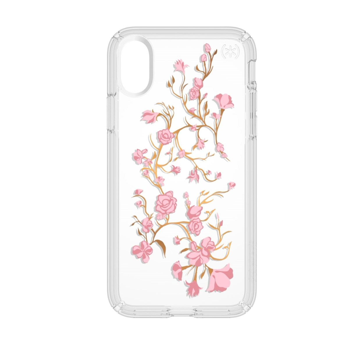 Carcasa iPhone X Presidio Clear + Print - Golden Blossoms Pink/Clear