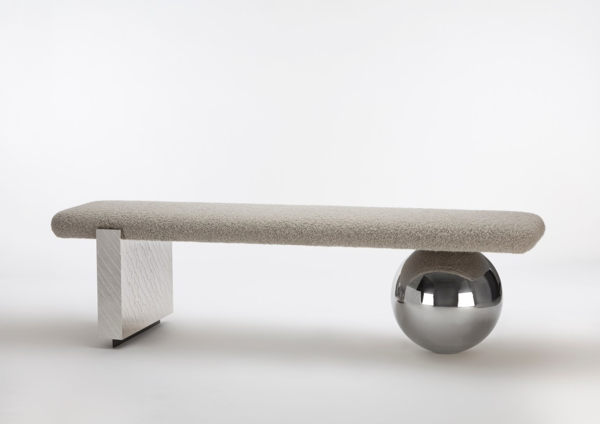 On the occasion of Maison&Objet and Paris Déco Off 2019, designer Jean-Louis Deniot designed a sculptural metal and fabric bench for Pouenat.
