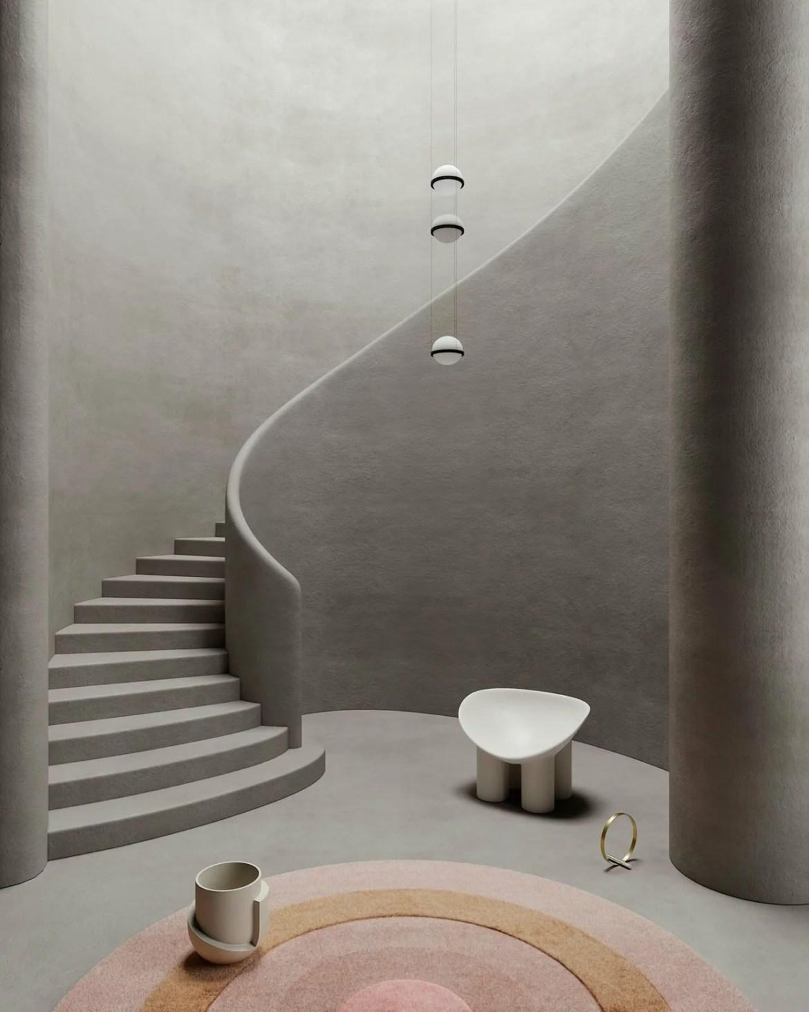 Set design around a staircase, Cristina Lello.
