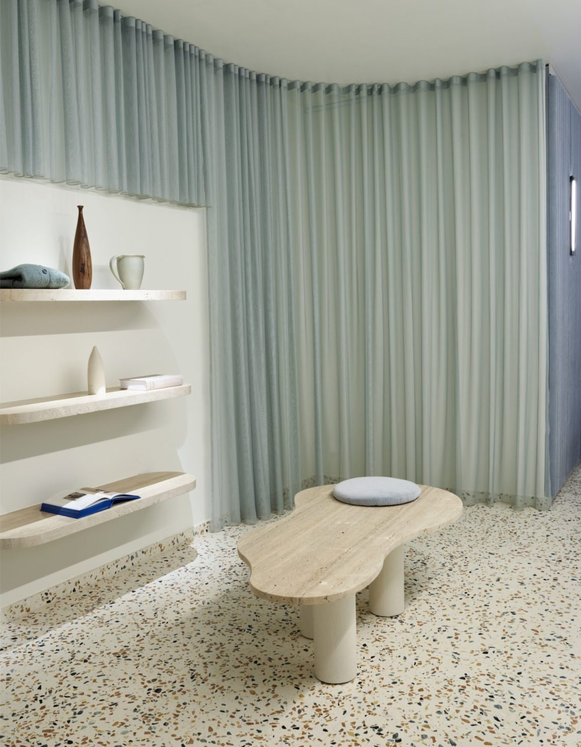 Displays and shelves for travertine store