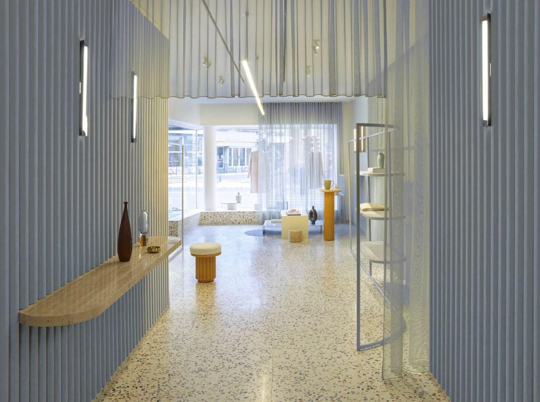 Elena Mora designed the interior and branding of the Manalena concept store in Luxembourg