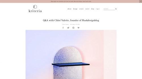 Huskdesignblog, Q&A with founder Chloé Valette, Kriteria