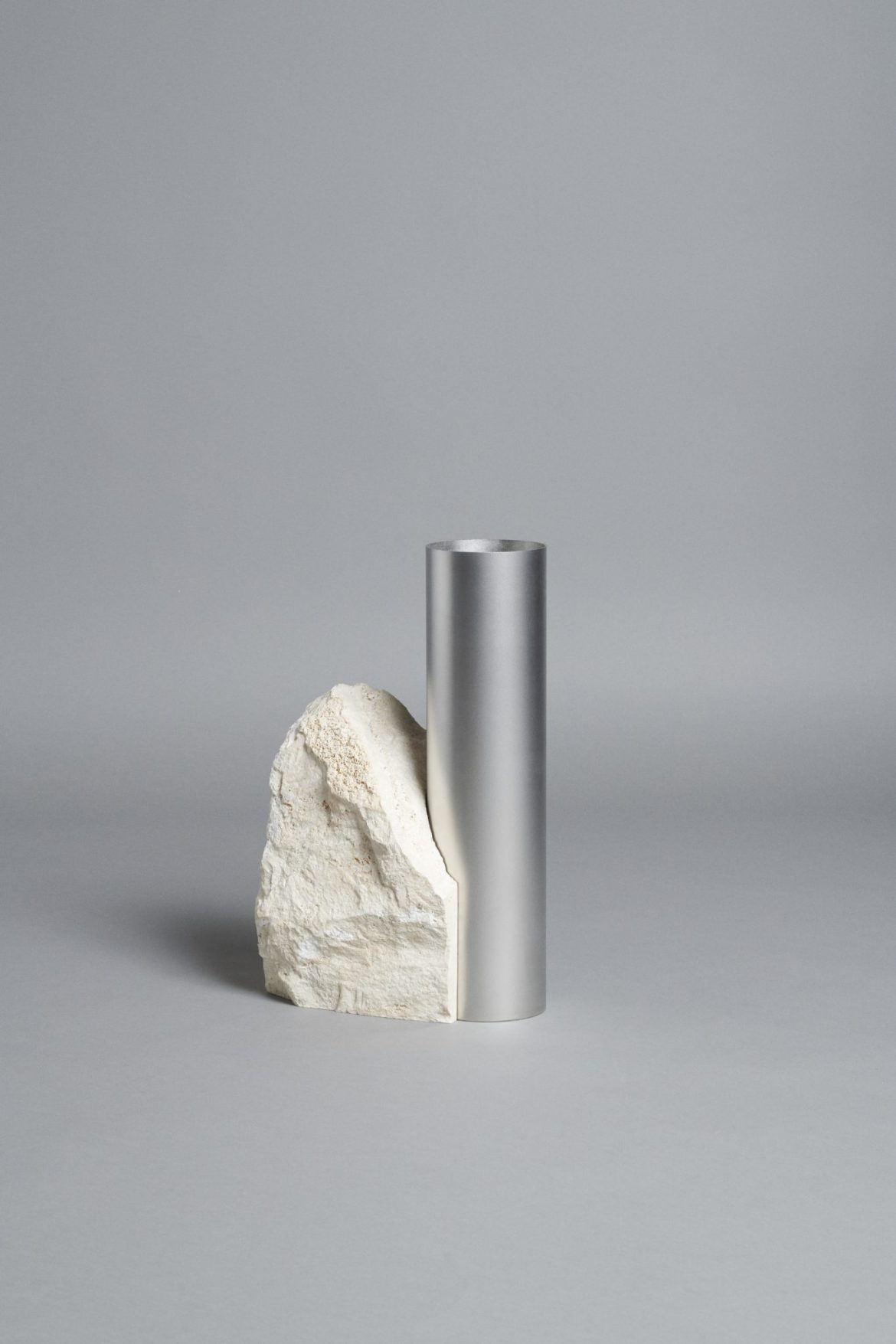 Bloc Studios x Tableau, Minimal white travertine and metal vase