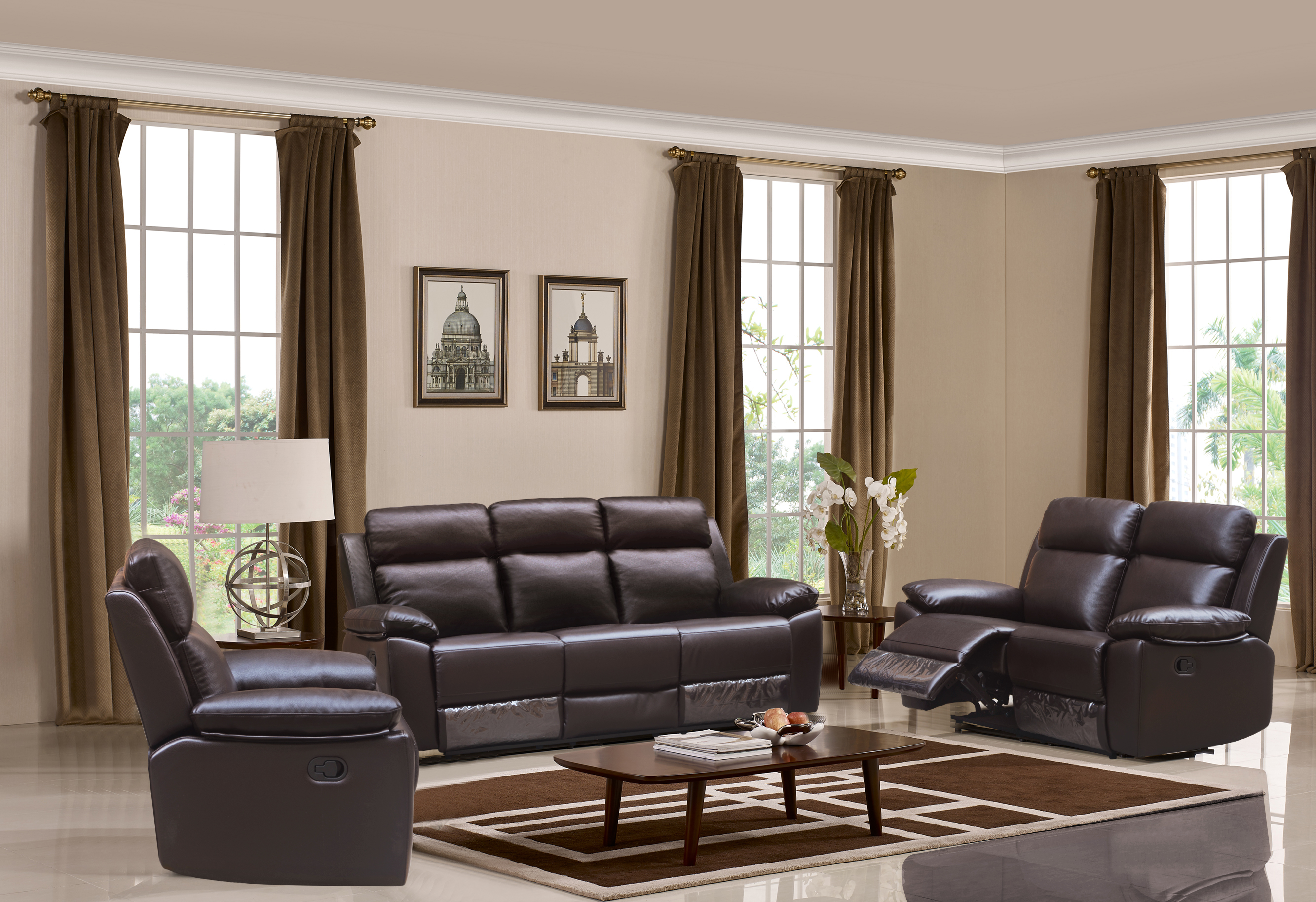 Leo Reclining 3 Pc Sofa Set Leather Air Code G03 Brown