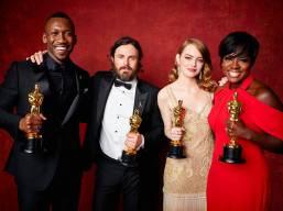 The Academy Award Actors Class of 2016 - Mahershala Ali, Casey Affleck, Emma Stone, and Viola Davis