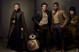 Carrie Fisher, Oscar Isaac, John Boyega, and Kelly Marie Tran star with BB8 in STAR WARS: THE LAST JEDI