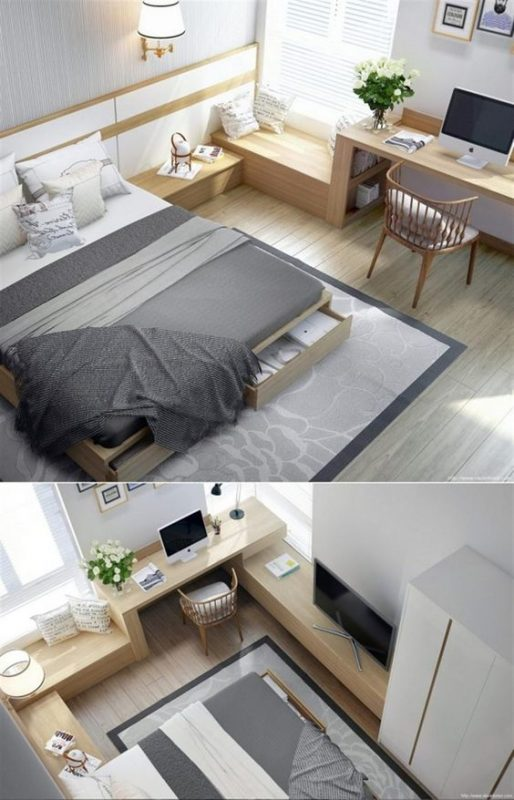 Continuous Furniture Small Bedroom Ideas
