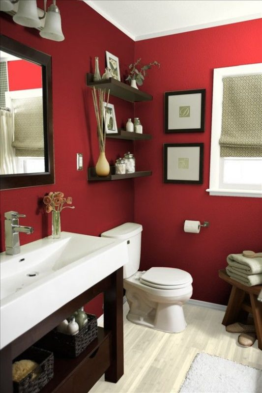 Red bathroom wall decor