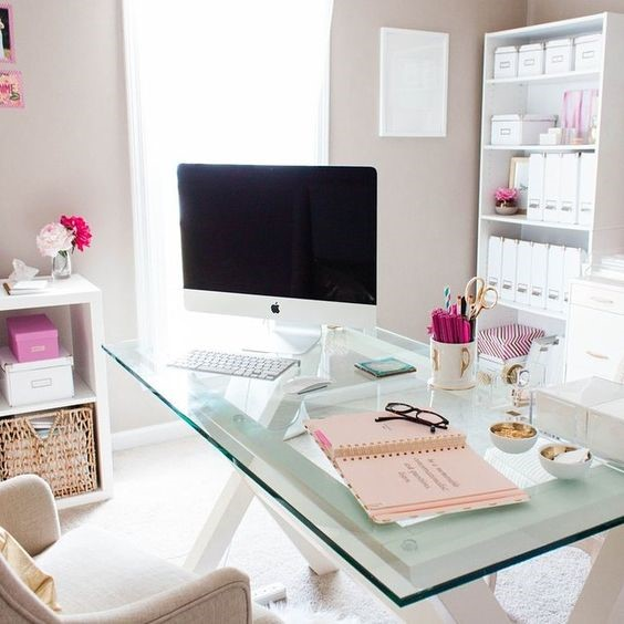 home office desk glass