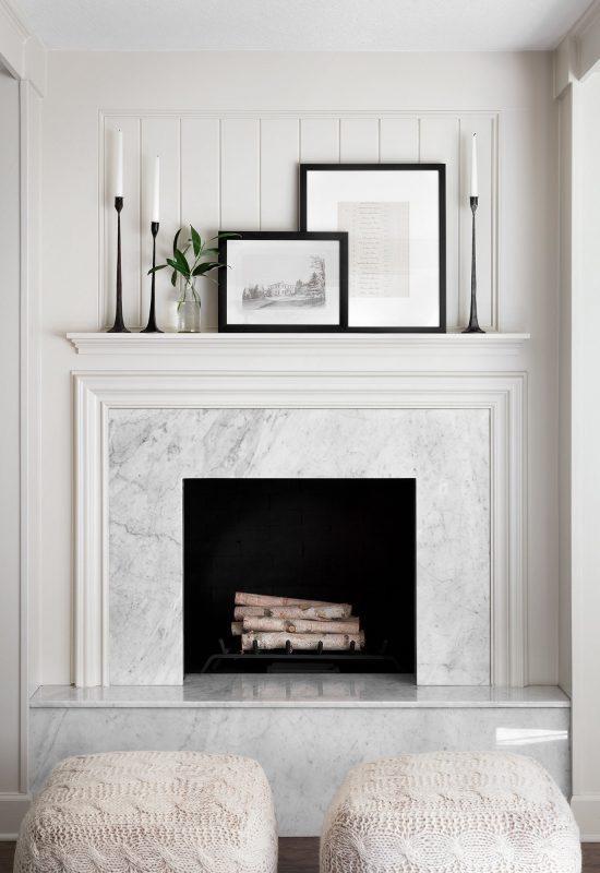 chimenea de mármol blanco envolvente
