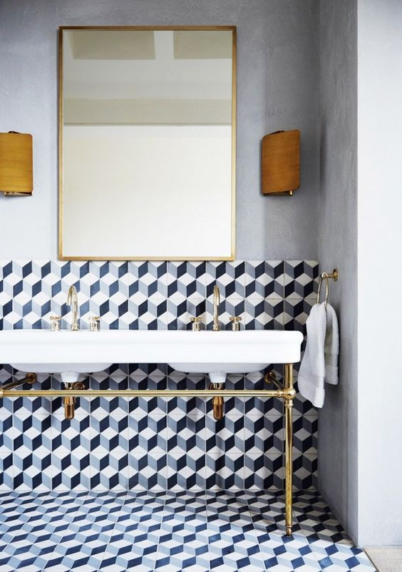 Geometric Bathroom Tiles Ideas
