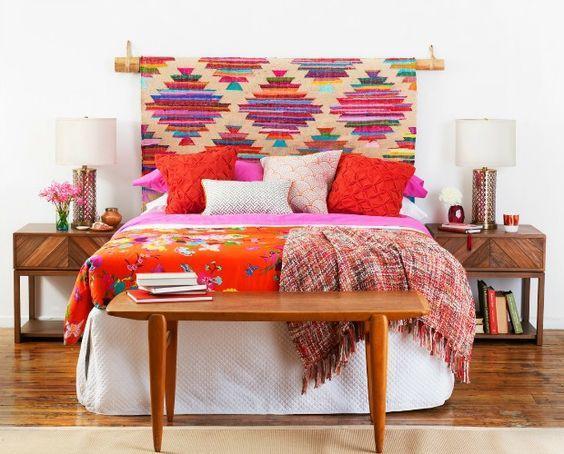 hanging rug headboard ideas