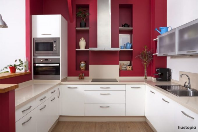 Red and White Kitchen Cabinets Style