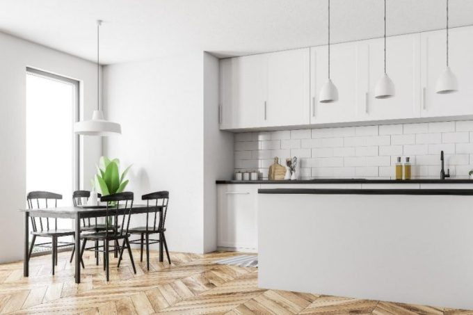 Herringbone for white kitchen