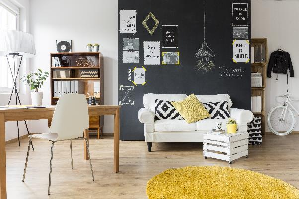 chalkboard painted wall living room