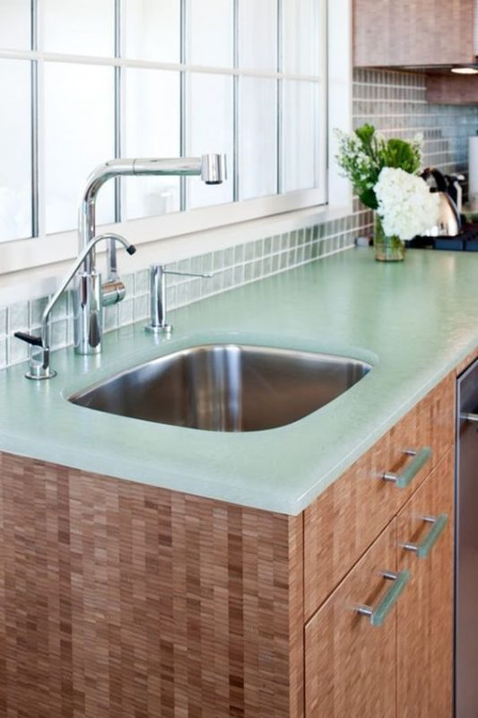 glass kitchen countertop
