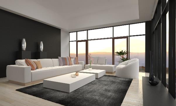 monochrome contemporary living room