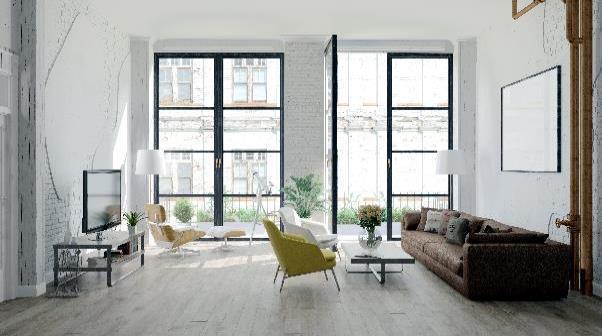 white brick contemporary living room