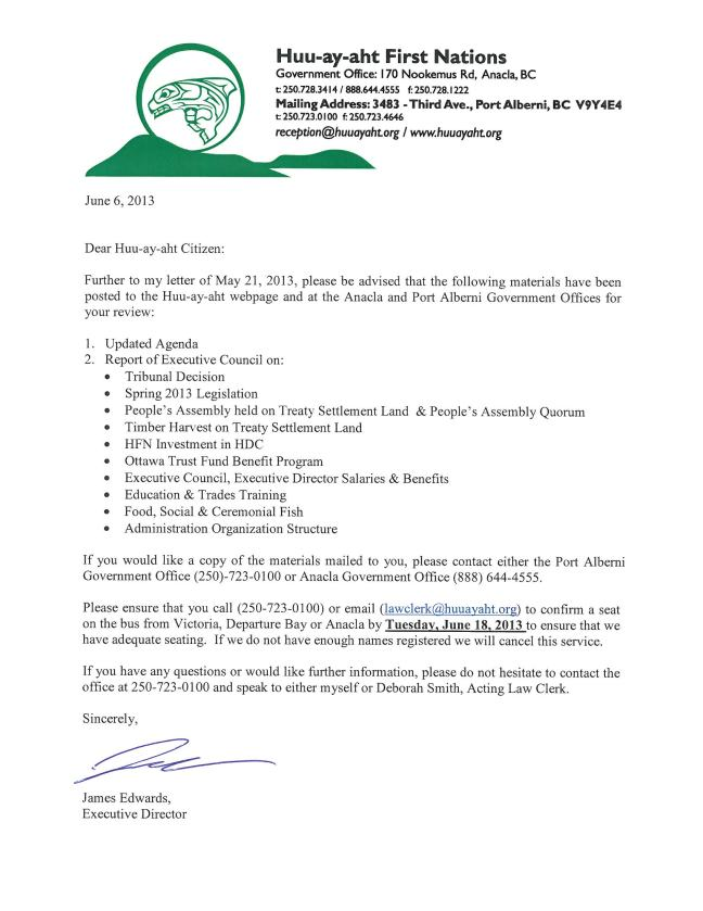 People's Assembly – 2013 Cover Letter