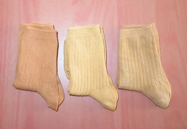 紅茶染めの靴下3種類