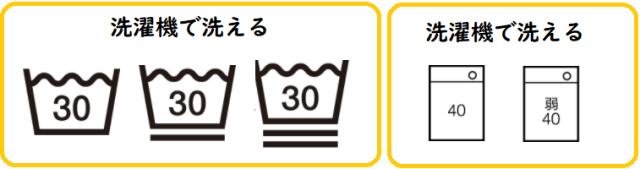 洗濯機で洗える時の洗濯表示