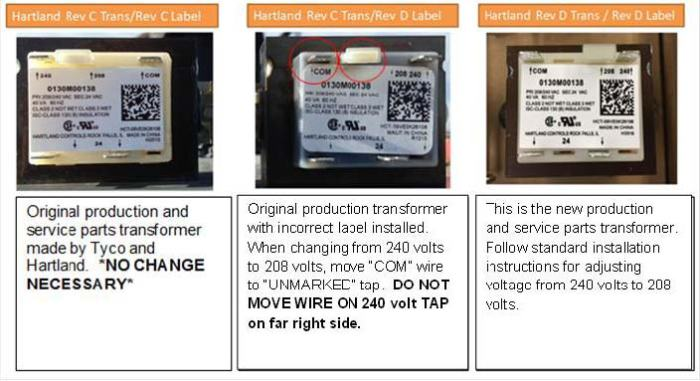 incorrectly labeled transformers – 208/240 volt models