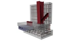 Steel, concrete and reiforcement connection