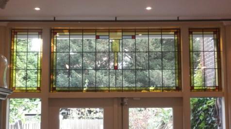 Binnenaanzicht glas in lood ruit na plaatsing