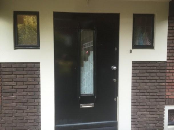 Aanzicht voordeur voor plaatsing glas in lood