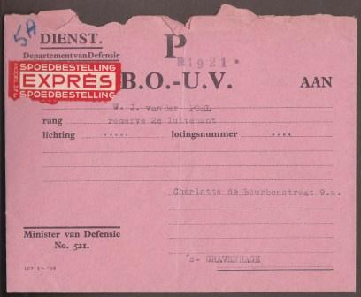 Telegram P: de Buitengewone Oproeping tot Uitwendige Veiligheid, gestuurd naar luitenant van de Poel, 15e Res. G. C. © Archief Stichting Fort a/d Hoek van Holland