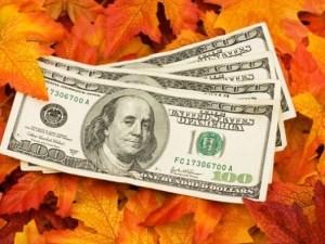 thanksgiving money on leaves