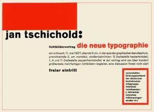Jan Tschichold, invitasjon til lysbildeforedrag om Die neue Typographie, 1927.