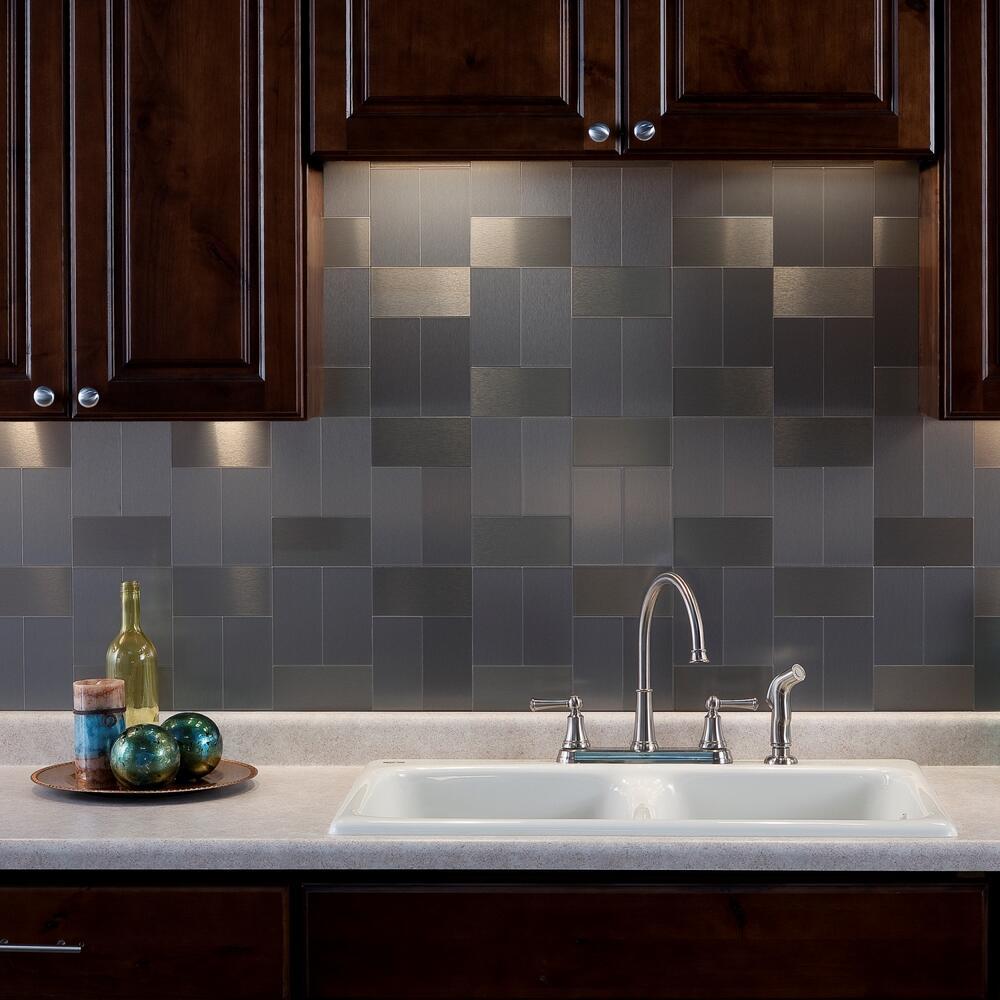 stick brushed metal backsplash tiles
