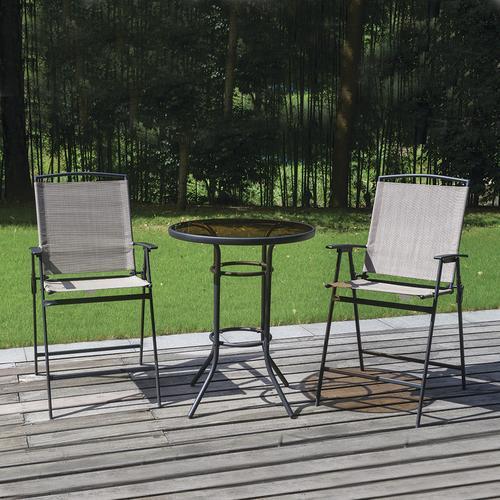 beige 3 piece high dining patio bistro