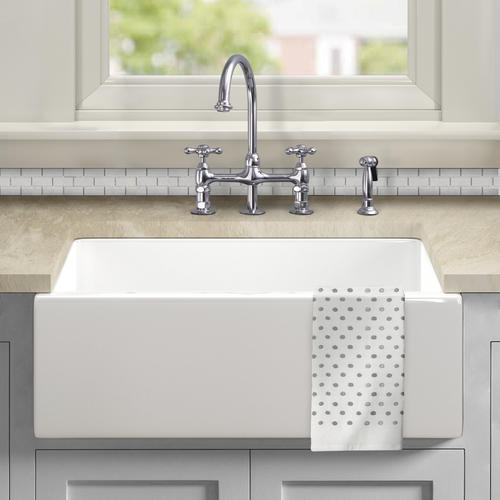 white fireclay single bowl kitchen sink