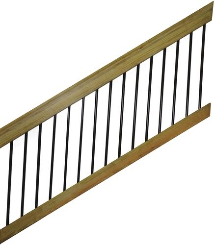 6 Wood Stair Rail Kit For Round Aluminum Spindles At Menards® | Menards Outdoor Stair Railings | Composite | Front Porch Railing | Railing Systems | Patio | Deck Railing Kits