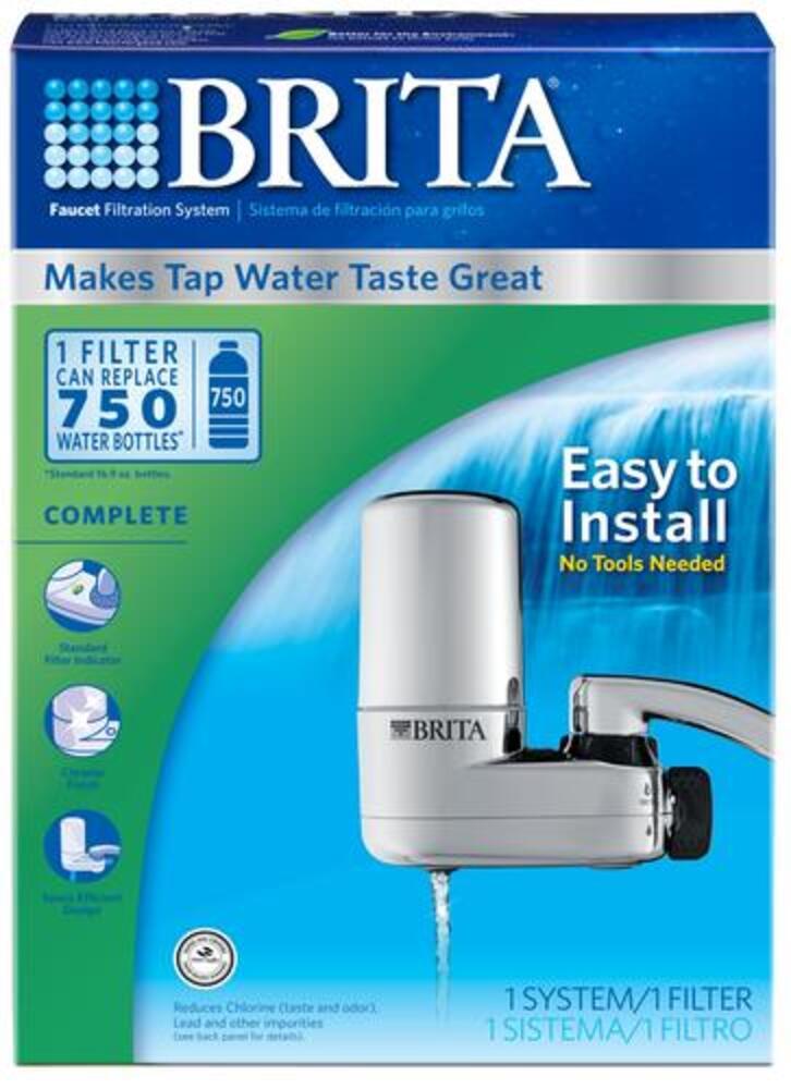 brita chrome faucet mount water filter