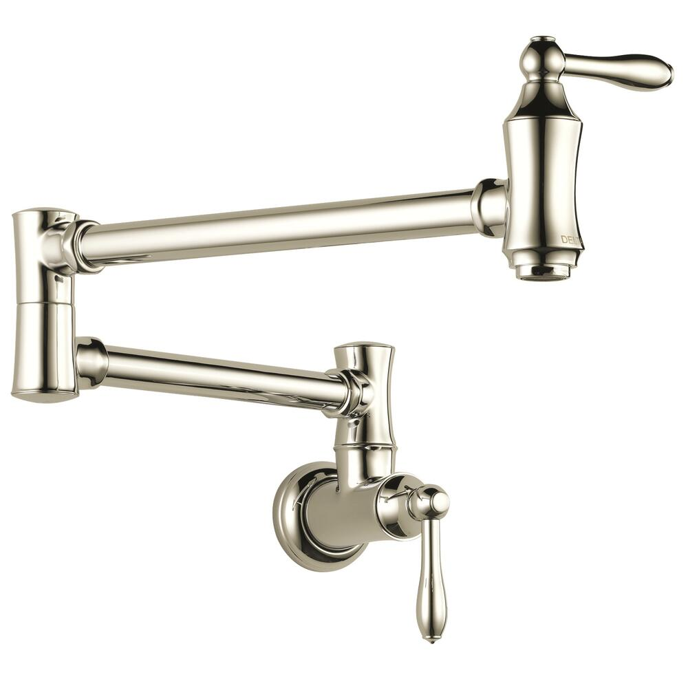 delta wall mount two handle polished