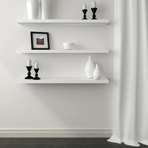 Designer S Image 42 1 8 W X 8 3 4 D White Floating Wall Shelf At Menards