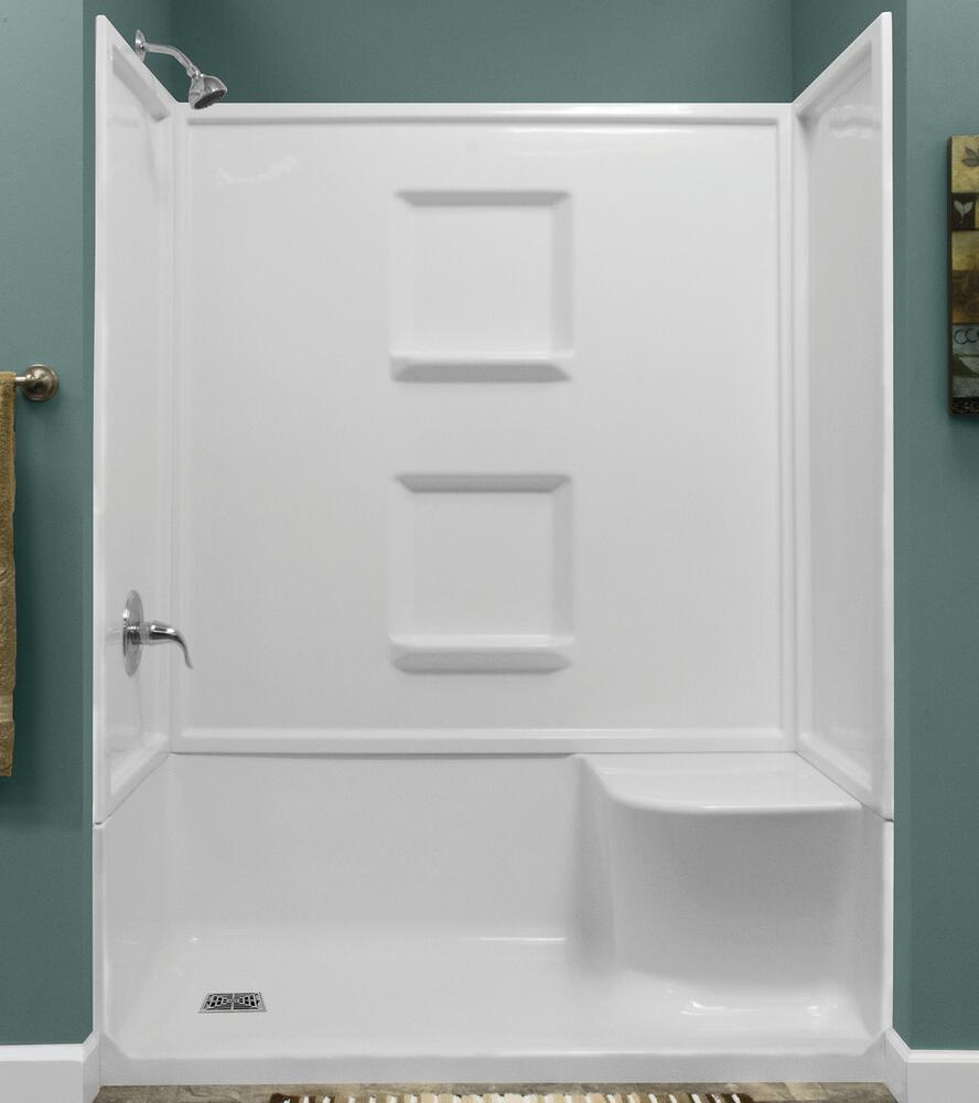 white seated shower with left drain