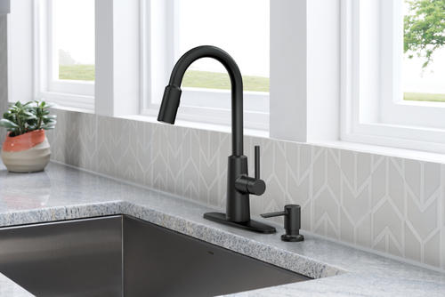 one handle pull down kitchen faucet at