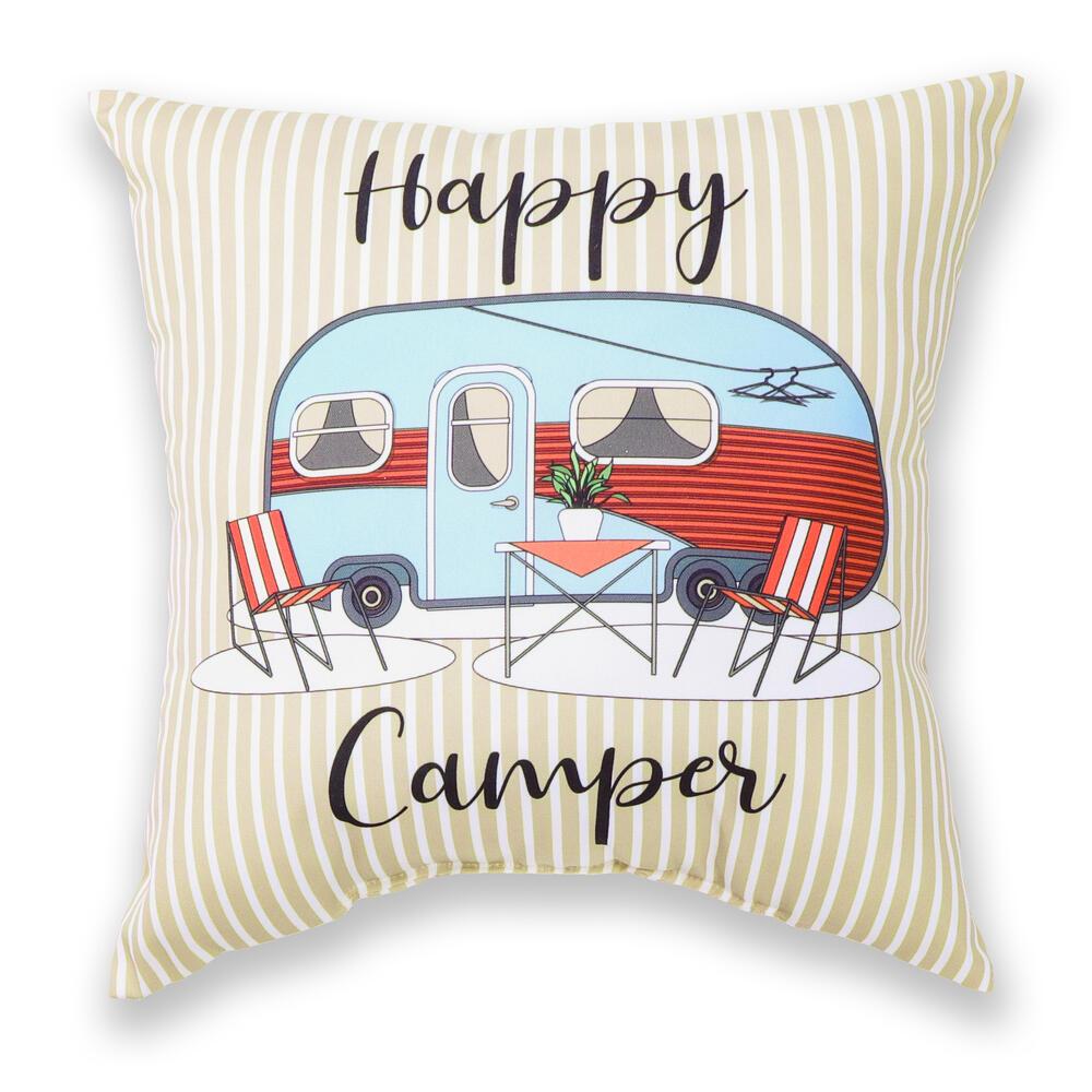 happy camper outdoor patio toss pillow