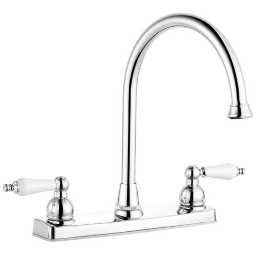 two handle chrome kitchen faucet at