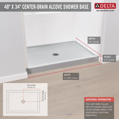 white shower base with center drain