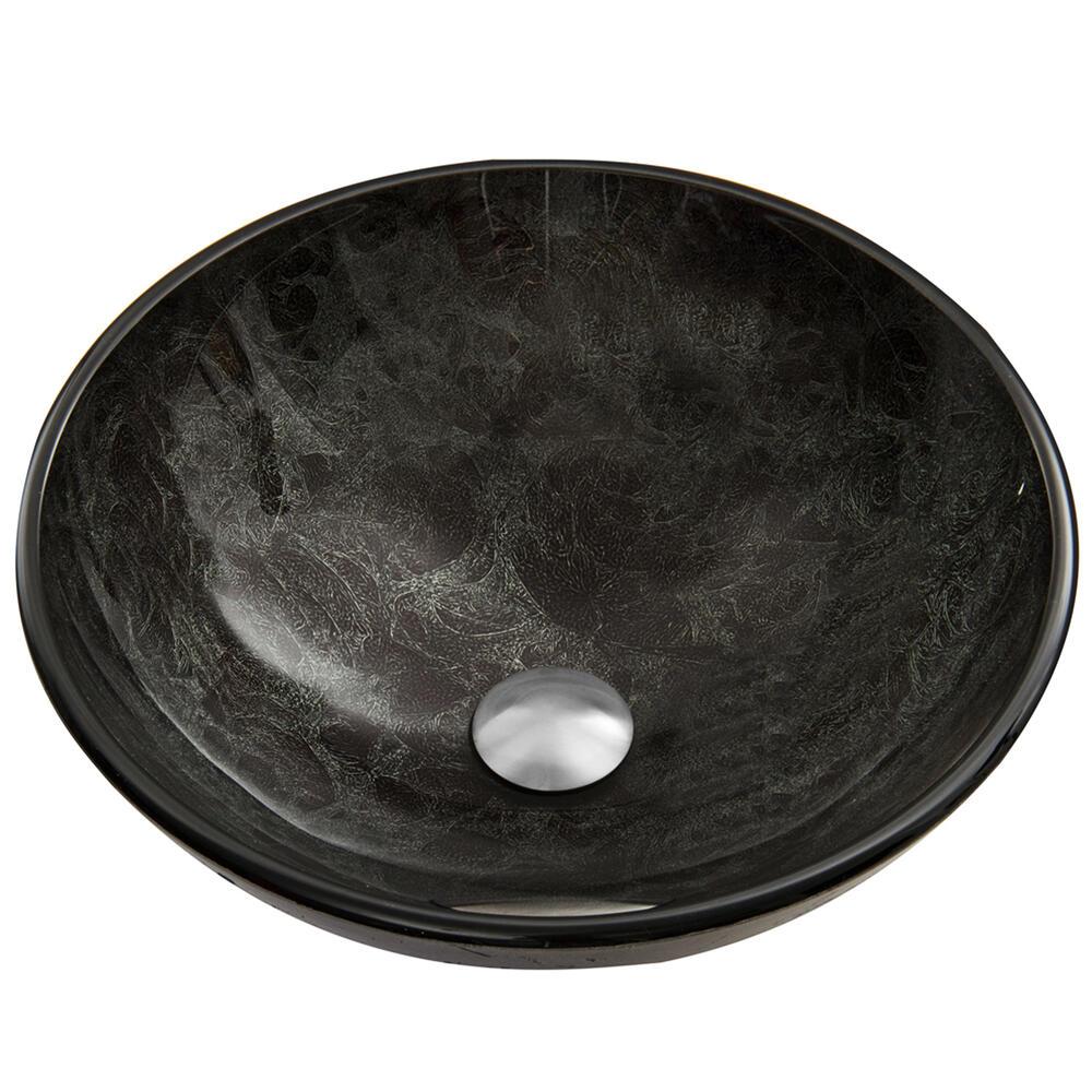 w gray onyx round glass vessel sink